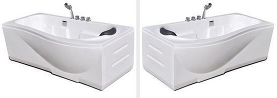 Left hand and right hand option of P shaped bath, P shaped whirlpool bath 1500-1600-1700 mm