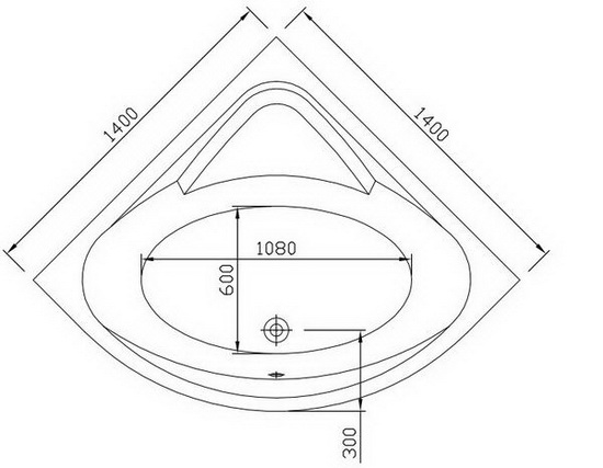 55 Inch Corner Bath Integral Apron Removable Access Panel