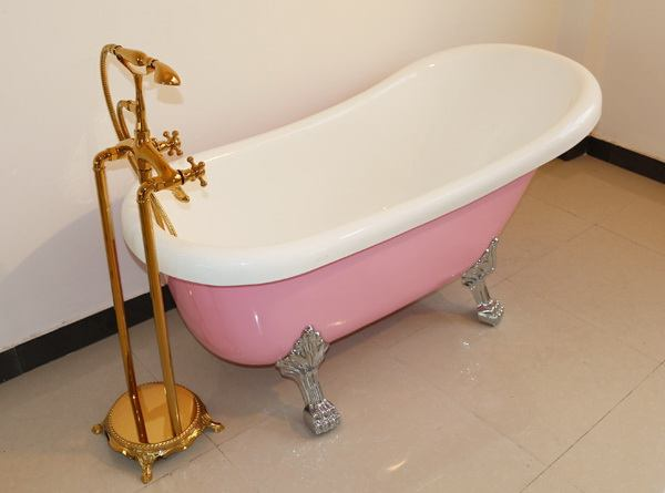 55 inch acrylic slipper clawfoot bathtubs in pink color