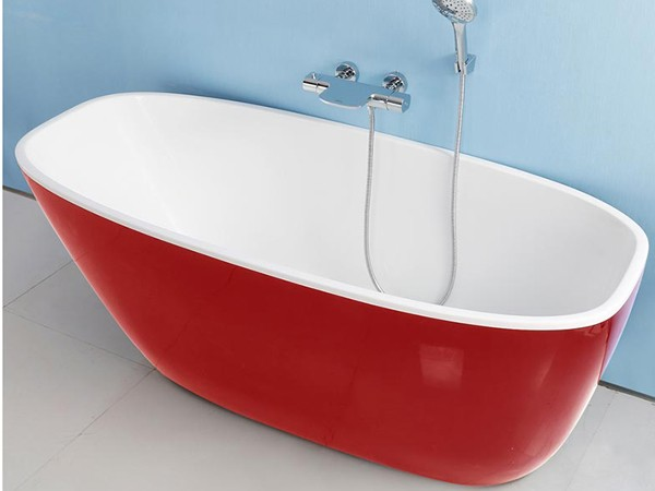 Red deep freestanding bath with wall hung faucet