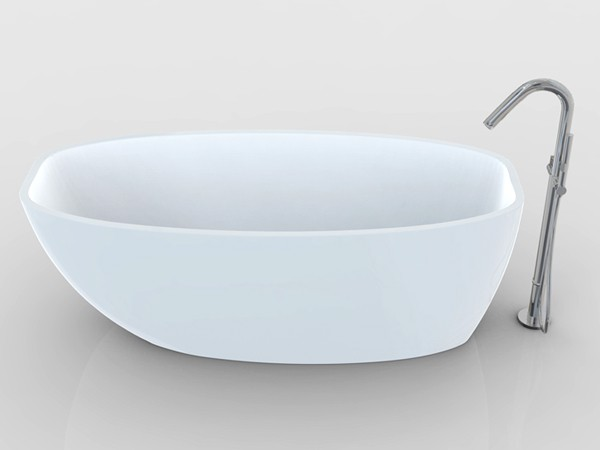 White deep freestanding bath from with freestanding faucet