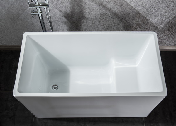 small mini rectangle freestanding acrylic bathtub with seat