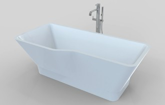 p shaped freestanding bath