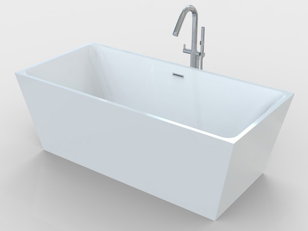 Freestanding rectangular bathtub with freestanding tub faucet
