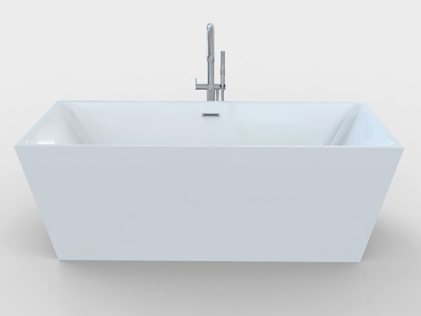 Freestanding rectangular bathtub front view
