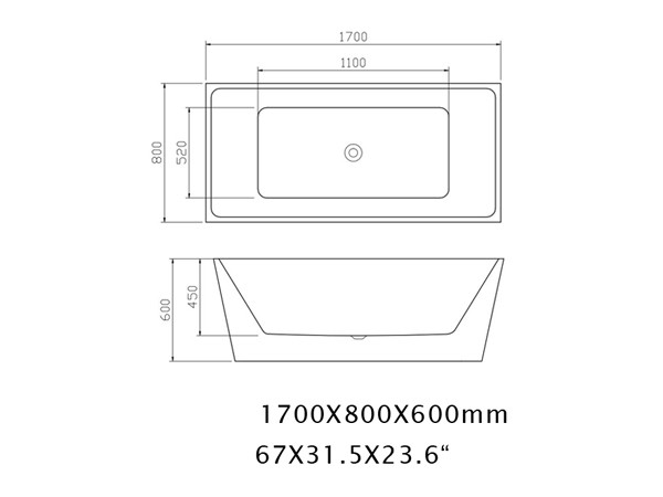 Freestanding Rectangular Bathtub Specification Sheet