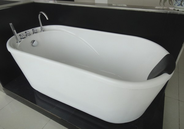 freestanding soaking tub with soft bath pillow 55 inch acrylic free standing  1400mm