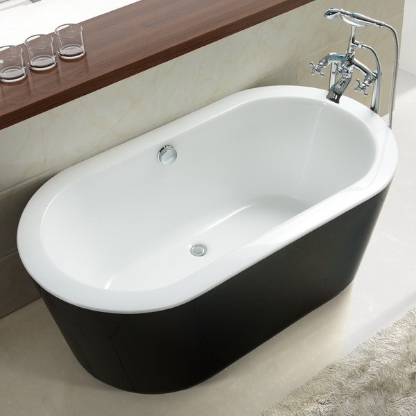 Black 71 inch acrylic freestanding soaking tub