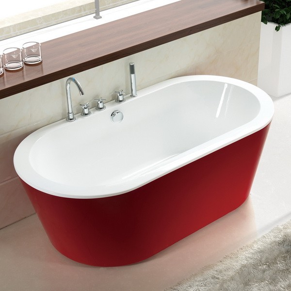 Red 71 inch acrylic freestanding soaking tub