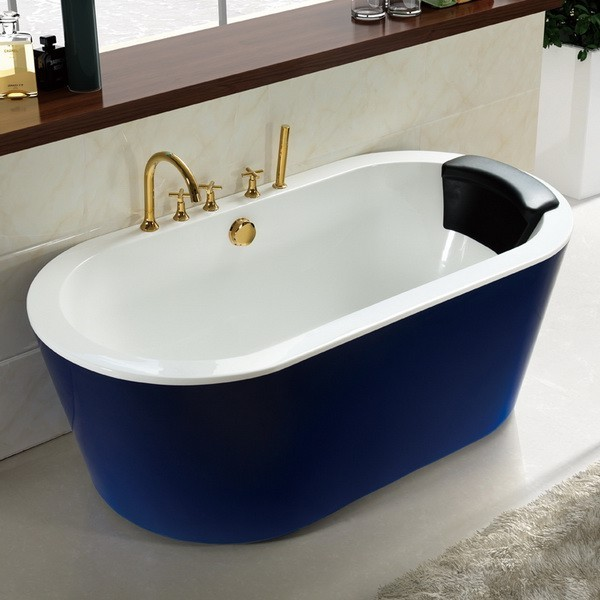Blue 71 inch acrylic freestanding soaking tub