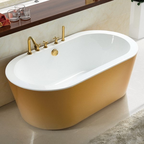 Gold 71 inch acrylic freestanding soaking tub