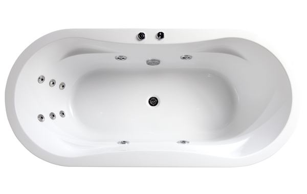 10 water jets and oval shape with integrated arm rest of the freestanding whirlpool bath