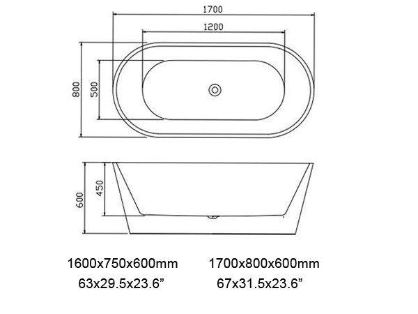 Oval Freestanding Bathtub Specification Sheet