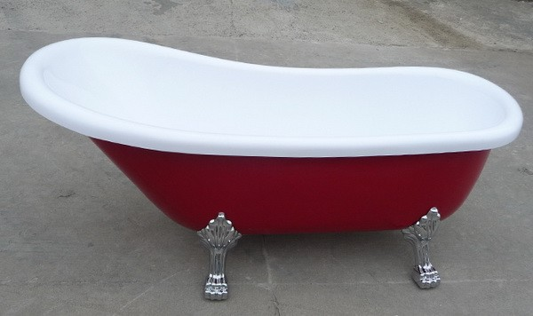 55 inch acrylic slipper clawfoot bathtubs in red color