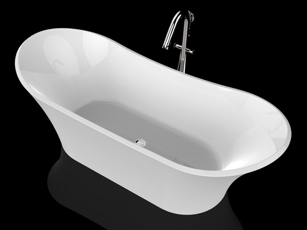 Roll top freestanding bath with freestanding tub faucet