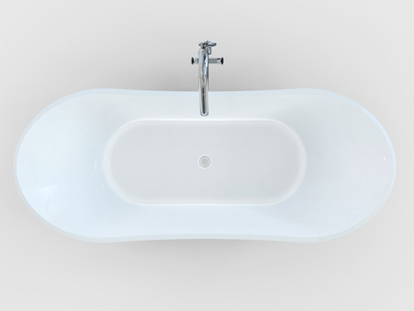 Roll top freestanding bath top view