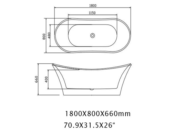 Roll Top Freestanding Bath Specification Sheet