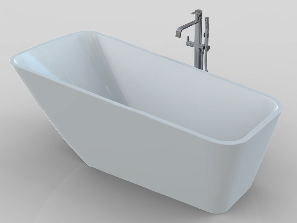 Single ended freestanding bath with faucet