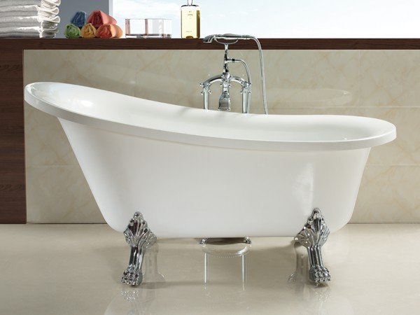 1800mm acrylic slipper clawfoot tub in white color