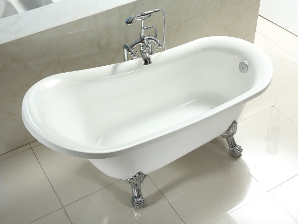 1800mm acrylic slipper clawfoot tub in white color from side view