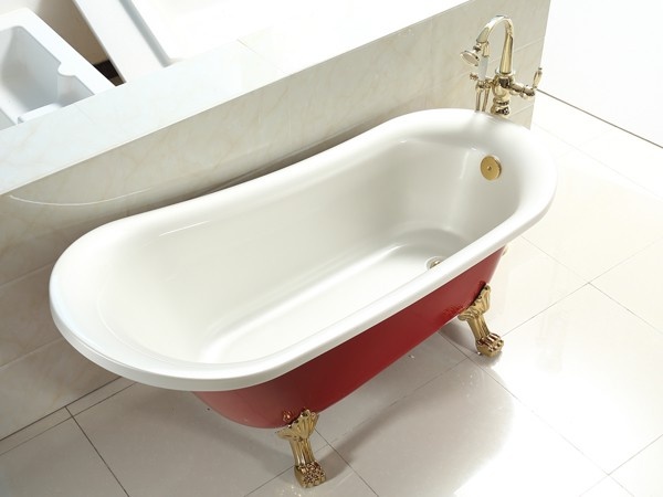 1800mm acrylic slipper clawfoot tub in red color from side view