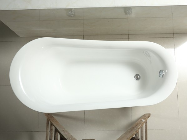 1800mm acrylic slipper clawfoot tub in white color from top view