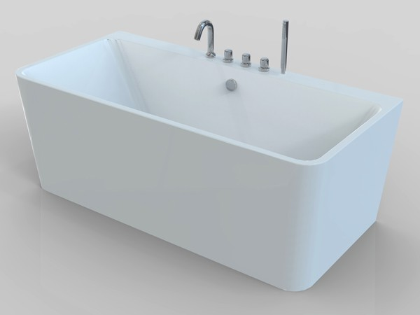 Small freestanding soaking tub with faucet
