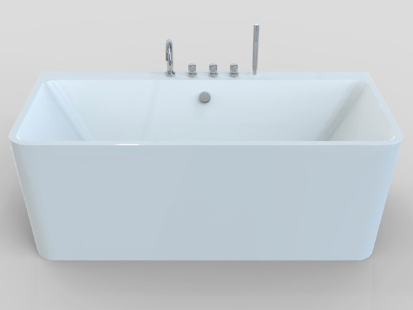 Small freestanding soaking tub front view