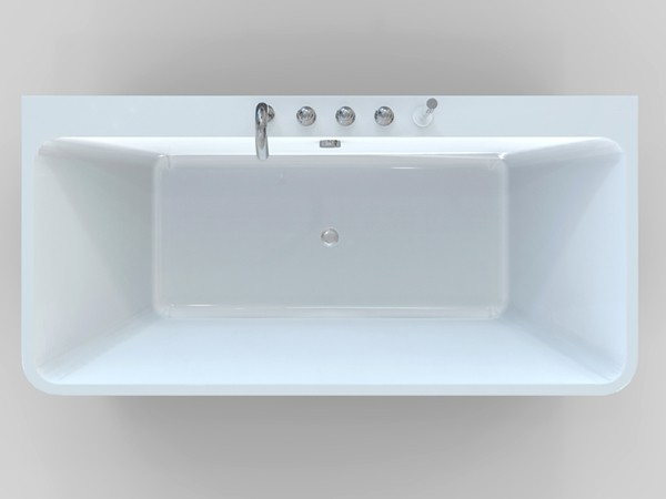 Small freestanding soaking tub top view