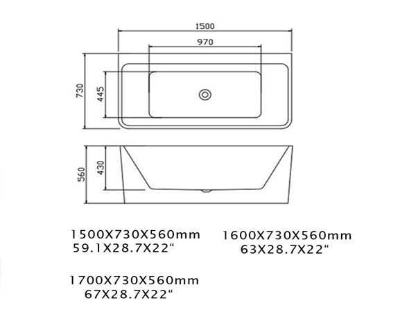 Small Freestanding Soaking Tub Specification Sheet