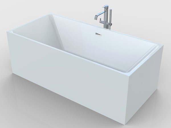 Square freestanding bath with freestanding tub faucet