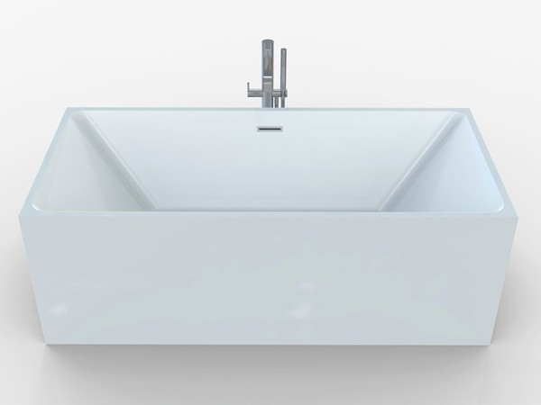 Square freestanding bath front view