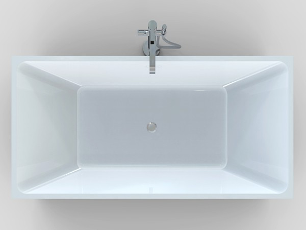 Square freestanding bath top view