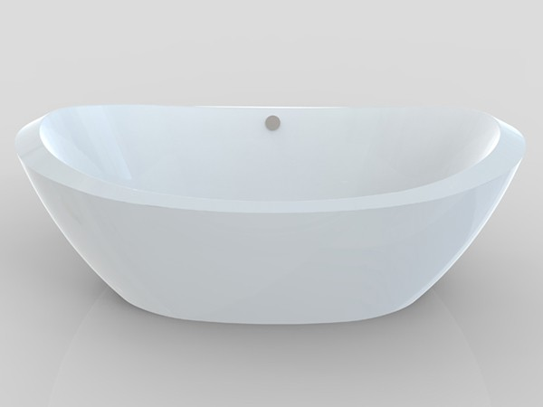 Wide freestanding tub front view