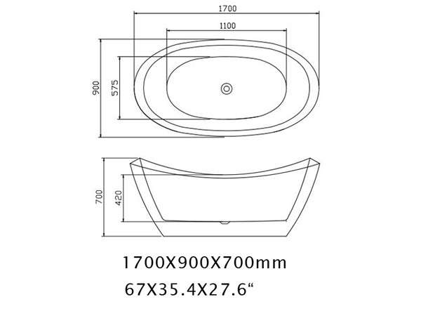 Wide Freestanding Tub Specification Sheet