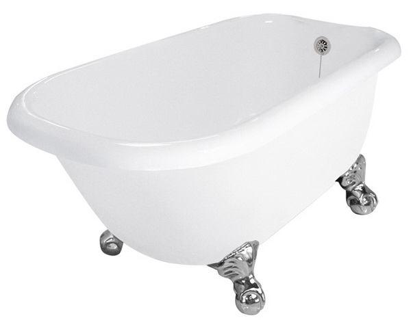54 Inch Acrylic Rolltop Clawfoot Tub