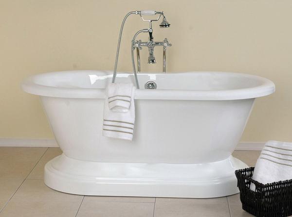 60 Inch Acrylic Double Ended Pedestal Bathtub