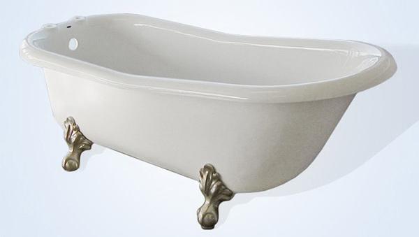 66 Inch Slipper Acrylic Clawfoot Bathtub