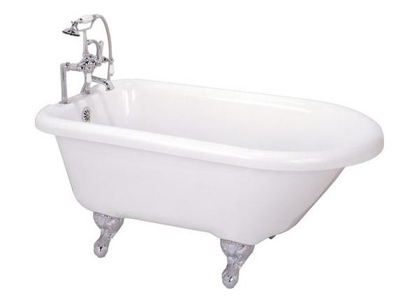 55 Inch Acrylic Roll Top Clawfoot Bathtub