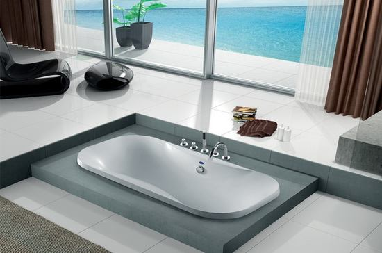 Oval soaker soft tub in bathroom