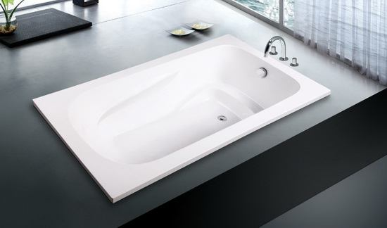 Rectangular undermount soft tub in bathroom